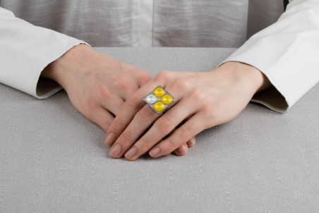 Four stone ring silver / yellow